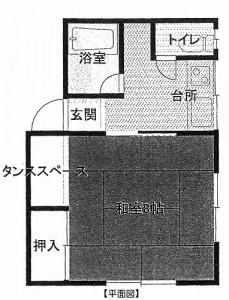 アパート広面1K 平面図